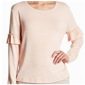 14th & Union L Coral Ruffle Sleeve Pullover top